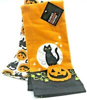 Celebrate Together Halloween 100% Cotton Dish Towels Black Cats Pumpkins 2 Piece