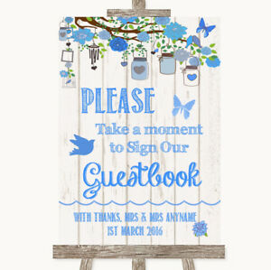 Wedding Sign Poster Print Blue Rustic Wood Take A Moment To Sign Our Guest Book