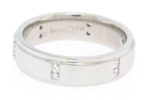 Scott Kay Men's Platinum .24ct Channel Diamond Solid Wide Wedding Band Ring Sz 9
