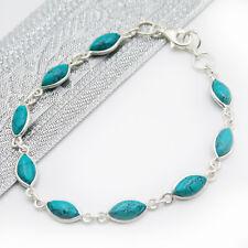 Armband Türkis Silber 925 mit 9 Cabochon-Steinen Damen Handschmuck
