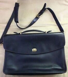 COACH Black Leather Lexington Briefcase 5265 Brass Messenger Shoulder bag