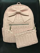 Betsey Johnson Blush Pink Big Bow Quilted Hearts Large Backpack With Small Pouch
