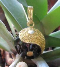 Anhänger Engelsrufer Yin Yang Symbol gold schwarz Kugel Klangkugel vergoldet