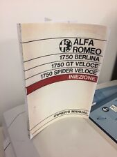 Alfa Romeo 1750 Handbook GTV Spider Berlina Veloce Instruction Service