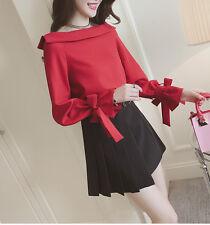 Off Shoulder Long Sleeve Fashion Women Blouse Korean Shirt Tops Spring Clothes