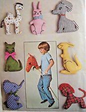 UC Simplicity 7744 Sewing Pattern Hobby Horse Stuffed Toys Animals Dog Elephant