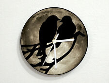 Love Birds on a Branch - Gray Moon - Wall Clock