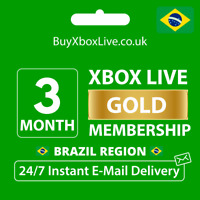 Xbox Live 3 Month Gold Membership Card For Microsoft Xbox 360 / Xbox One BRAZIL