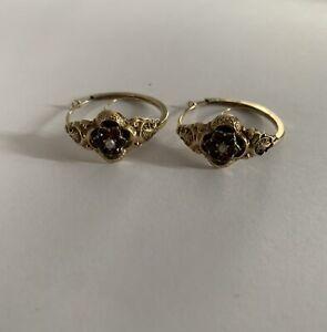 Alte Ohrringe Biedermeier 14 Karat Gold mit Granaten