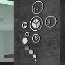 DIY Home Modern 3D Mirror Wall Clock Round Sticker Home Living Room Decor Hot