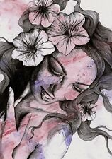 Ritratto donna con fiori, Disegno originale, Matita e acrilico, Arte moderna