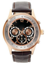 Jorg Gray Mens JS0120 Black Rose Gold Dial Brown Leather Band Stainless Watch