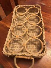 Vintage Basket Drink Holder Tray Folk Art Woven 8 Drink Compartments (Jl)