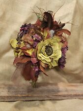 Eclectic Bohemian green rust, burgundy shabby chic, Fall jeweled wedding bouqet