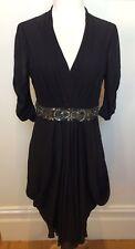 TED BAKER London Black Semi Sheer Beaded Waist Drape Side Cocktail Party Dress 2
