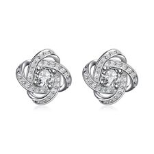 925 Womens Sterling Silver Infinity Stud Earrings Made with Swarovski Crystal