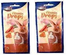 CARROT DROPS x2 Rabbit Guinea Pig Treats VITAMIN 75g Mini Drops