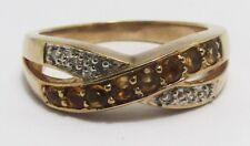 100% Genuine Vintage 9ct Solid Yellow Gold 0.48cts Citrine & Diamond Ring Sz 6.5