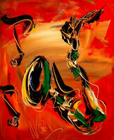 saxophone  ART  IMPRESSIONIST LARGE ORIGINAL OIL  PAINTING -JI[SDFB