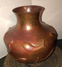 Museum Quality Ignacio Punzo Angel Mexican Hammered Copper Art Fish Vase Pot