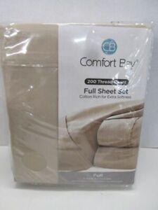 Comfort Bay 200 Thread Count Cotton Blend 4pc Full Sheet Set BRAND NEW!