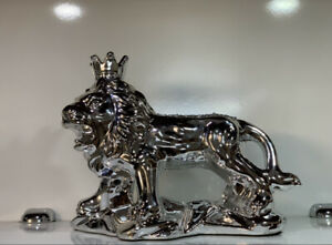 LATEST SILVER CRUSHED DIAMOND SPARKLY LION ORNAMENT, SHELF SITTER✨