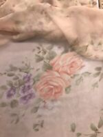 """Peach Purple Green Floral Chiffon Printed Fabric 60"""" Width Sold By The Yard"""