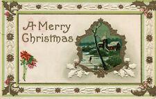 LOT de 6 Cartes Gauffrées Joyeux Noël Merry Christmas