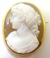 Fine 18k High Relief Genuine Natural Stone Cameo Pin (#3568)