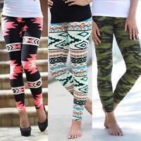 Vintage Women's Tribal Aztec Print Leggings Multi-Color Long Soft Pants Trousers