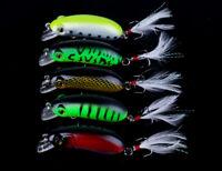 5pcs Minnow Crankbait 6cm/10g Wobbler Crank Bait Hooks Bass Fishing Lure Tackle