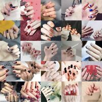 24pcs Acrylic False French Nails Full Finger Nail tips Art Cover Manicure+2g Gel