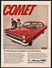 1966 MERCURY COMET CYCLONE with Twin Scoop Hood Red Classic Car Photo AD