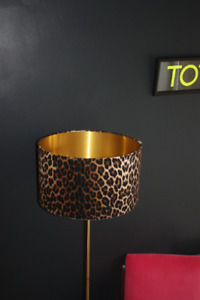 Lampshade, Leopard Velvet with Brushed Gold Lining