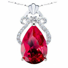 Mabella 6.15 Carat Sterling Silver Pear Cut Created Ruby Pendant with 18 inch Chain