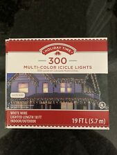 New ! 300 PK Multi-Color Icicle Lights White Wire Indoor Outdoor 19Ft UL listed