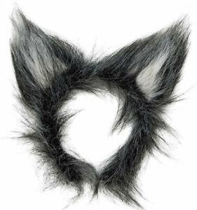 Deluxe Grey Fluffy WOLF EARS Mens Women Animal Headband Headpiece FANCY DRESS
