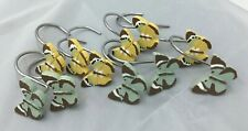 11 , 6 Yellow 5 Green Butterfly Shower Curtain Rings Hooks Spring