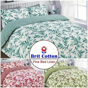 Ellie Green Leaf Print Duvet Cover Set Pillowcase Bedding Quilt Bed Size 2020