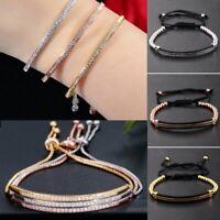 CZ Crystal Silver Rose Gold Braieded Bracelet Adjustable Bangle Women Jewelry