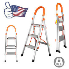 New 3 Step Aluminum Ladder Folding Steel Step Stool Anti-slip 330Lbs Capacity