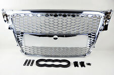 Audi A4 S4 B8 09-12 RS Style All Chrome Mesh Front Hood Bumper Grill