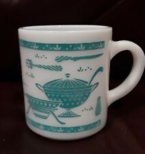 Vintage HAZEL ATLAS - Coffee Mug Milk Glass -- Turquoise Kitchen Aids