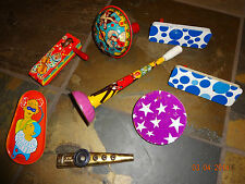Vintage Tin/Metal Party Noise Makers - Lot of 8 - Clowns/Dancers/Stars Kazoo