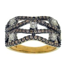 1.07ct WHITE & CHOCO DIAMOND RIGHT HAND RING 14K GOLD
