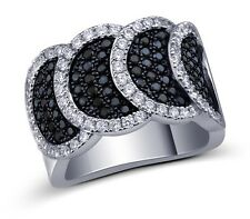 Black and White Cubic Zirconia Pave Setting Designer Ring Sterling Silver 925