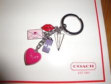 NEW Coach Love Letters Multi Mix Charm Keychain Key Fob Heart Lips 93094