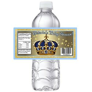 BLUE GOLD ROYAL PRINCE CROWN BABY SHOWER PARTY FAVORS GLOSSY WATER BOTTLE LABELS