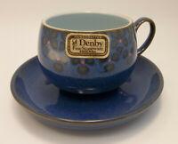 Denby Midnight Blue Pottery Tea Cup Saucer Set England Stoneware