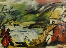 J. REICHA..?? schwer lesbar - Expressisonismus-Gemälde 1966:  HAUS AM WASSERFALL